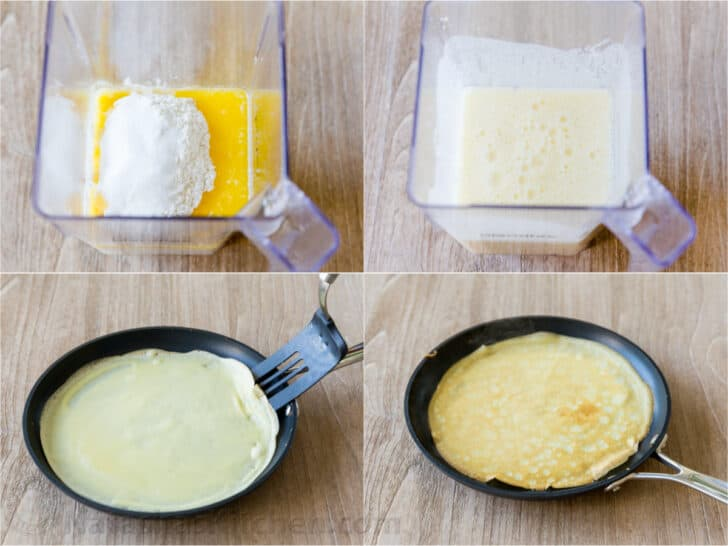 Step by step how to make crepes in a blender and saute on a skillet