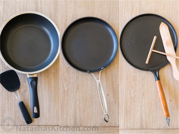 3 pans for making crepes