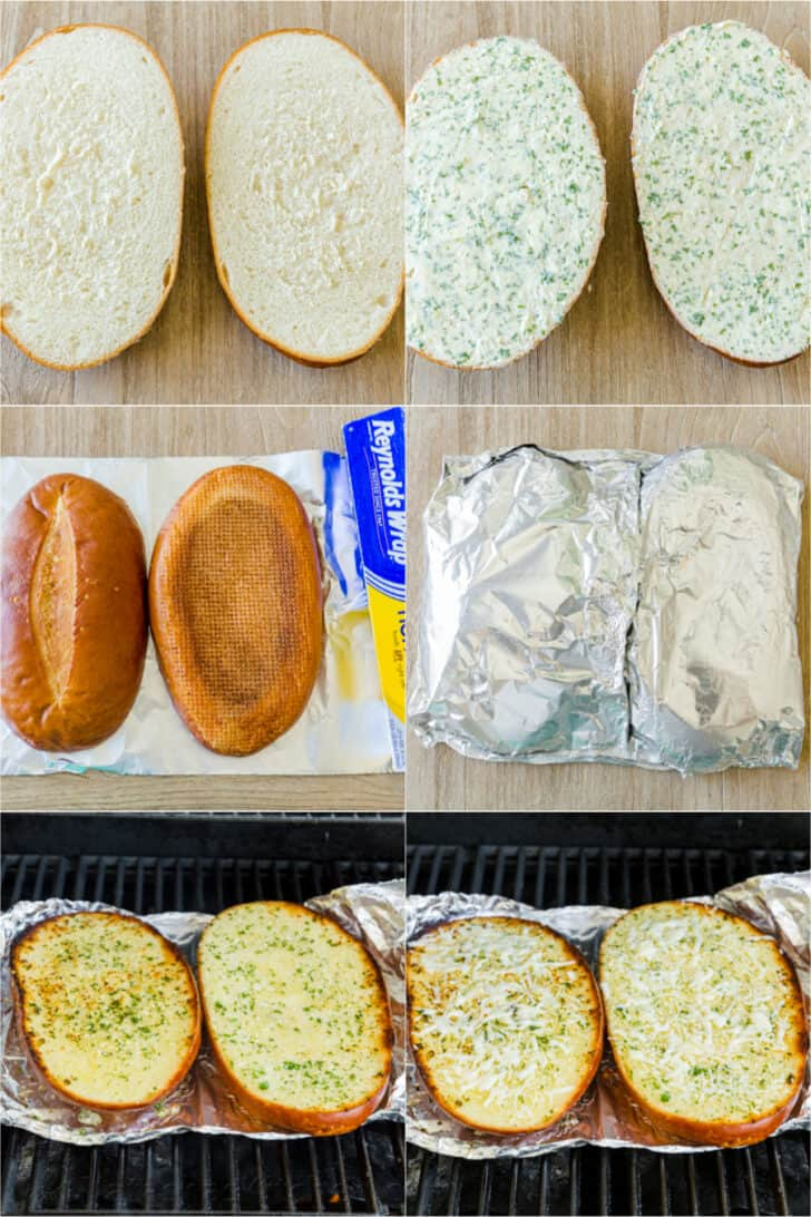Step by step how to make cheesy garlic bread in foil