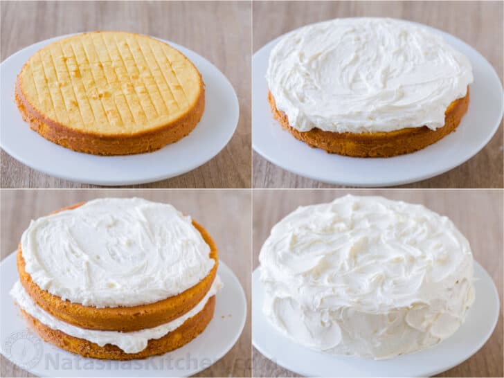 How to assemble and frost a vanilla cake