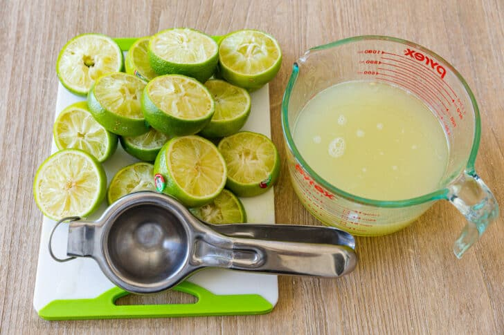 Freshly squeezed limes and lime juice