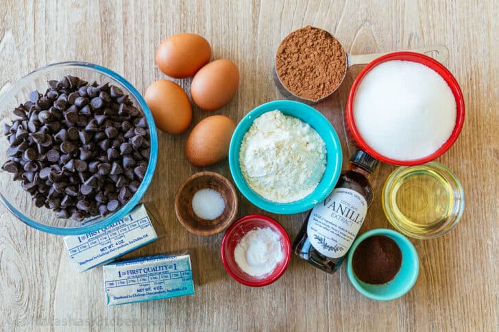 Ingredients for brownie recipe with chocolate chips, egg, cocoa, flour, sugar, butter, coffee granules