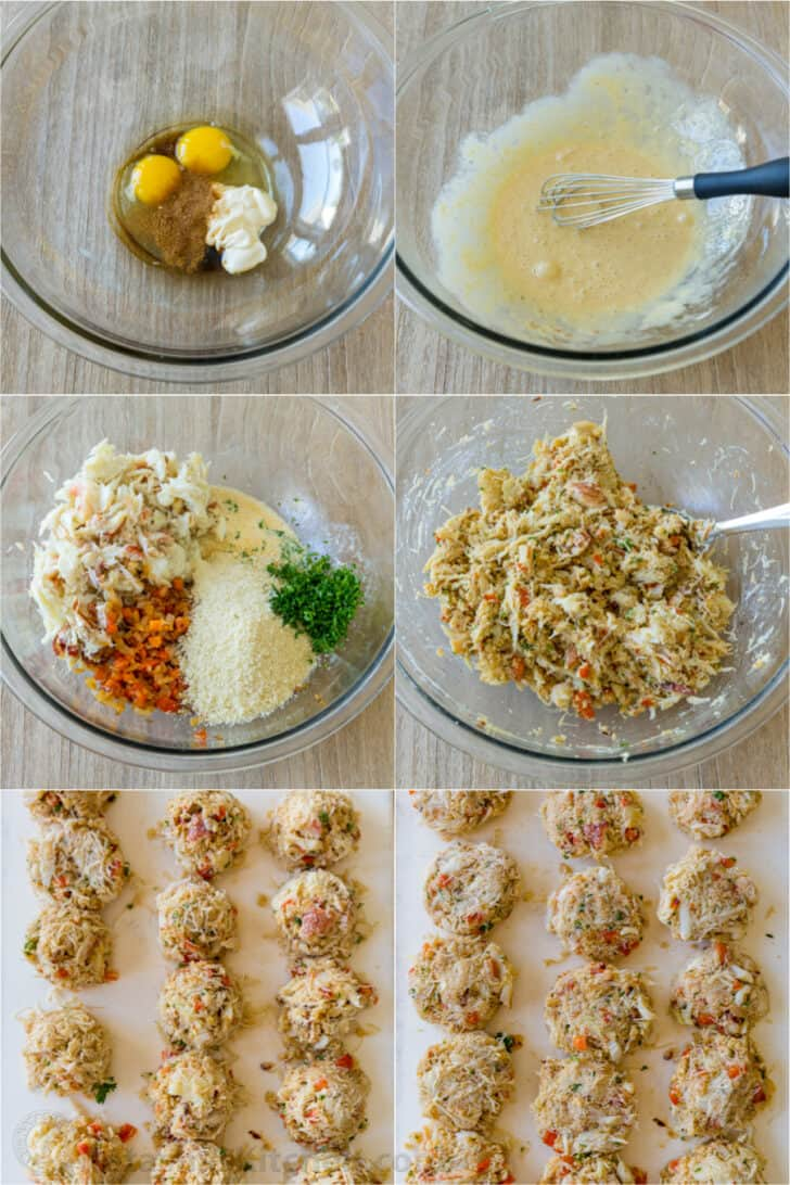 Step by step photos for making crab cake mixture
