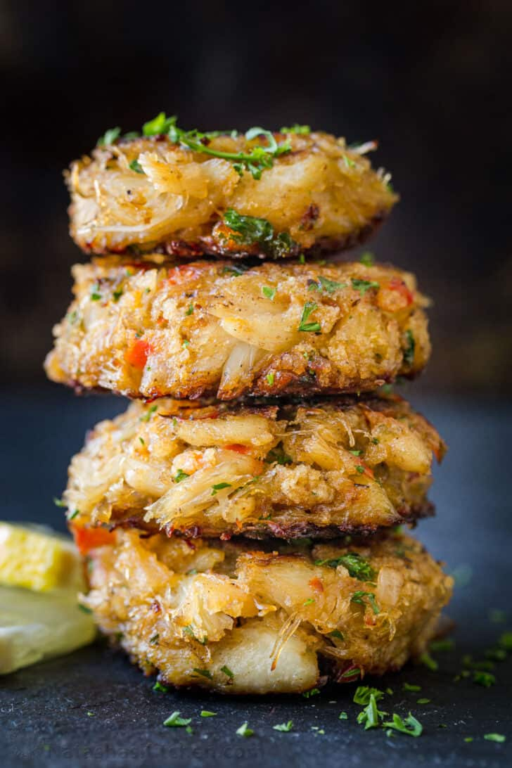 Stack of crab cakes seasoned to perfection