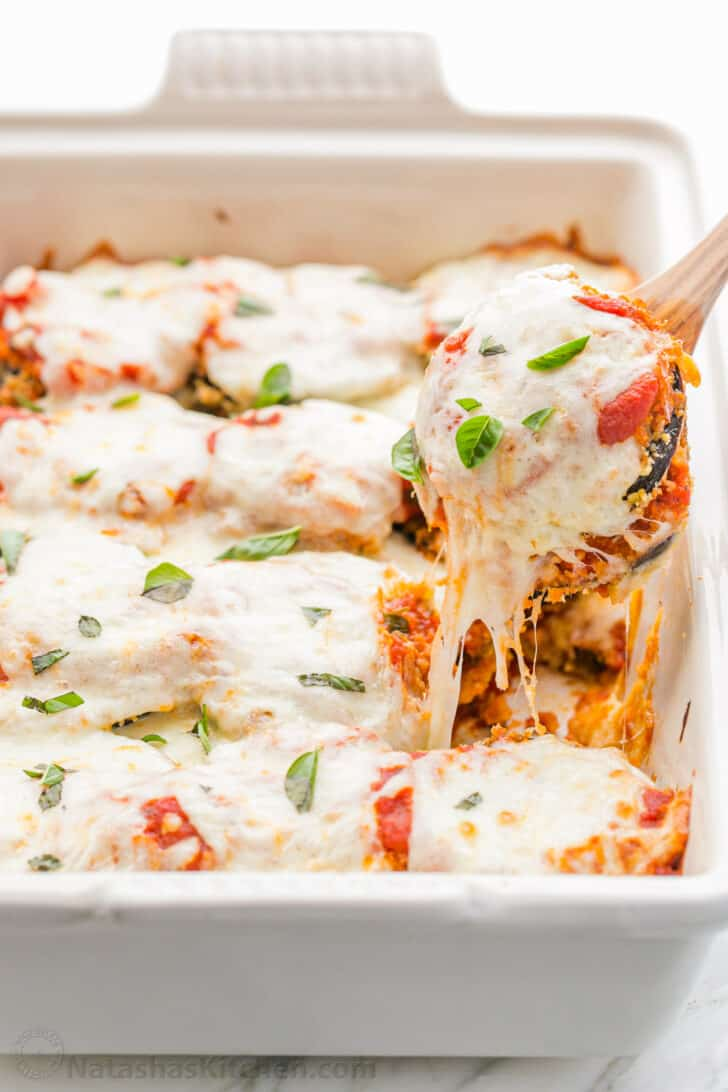 Baked Eggplant Parmesan slice with melted cheese