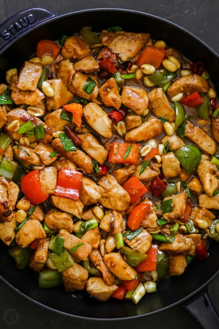 A skillet with Kung Pao Chicken