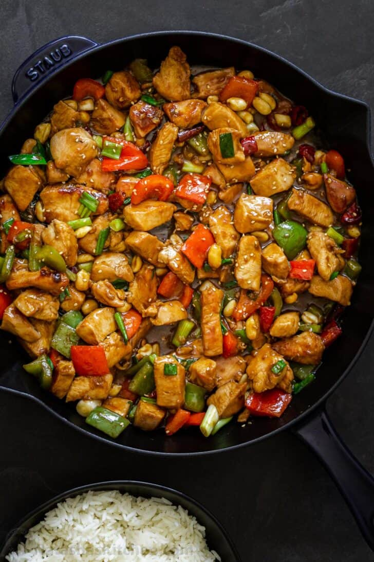 A pan with Kung Pao Chicken