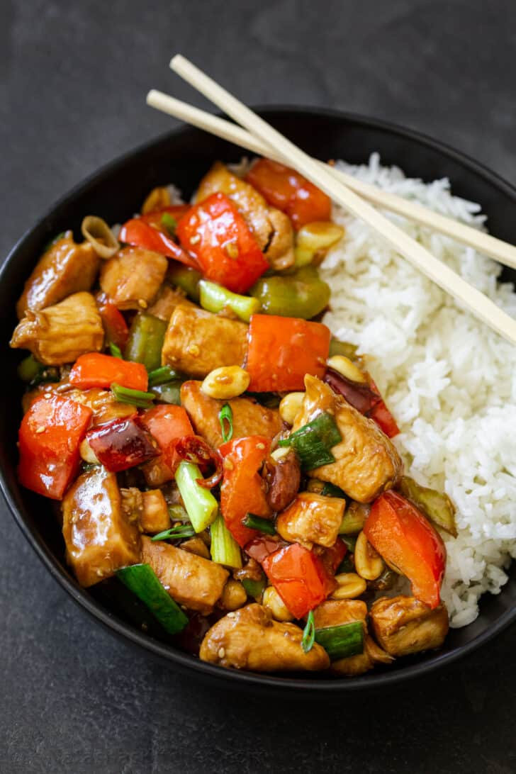 A bowl of rice with Kung Pao Chicken