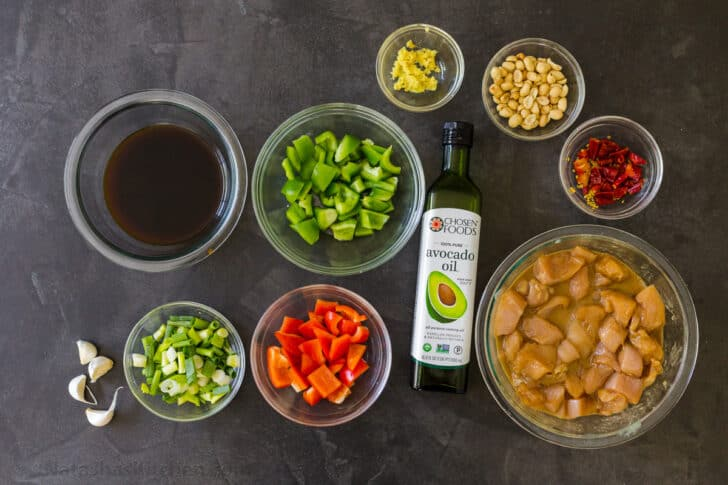Ingredients for the kung pao chicken recipe