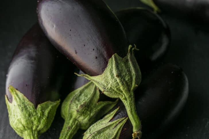 Garden fresh eggplant ready for slicing to make baked Eggplant Parmesan