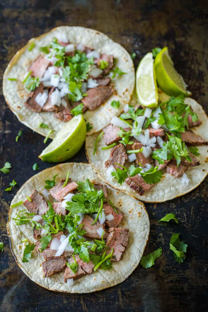 Mexican street tacos with limes