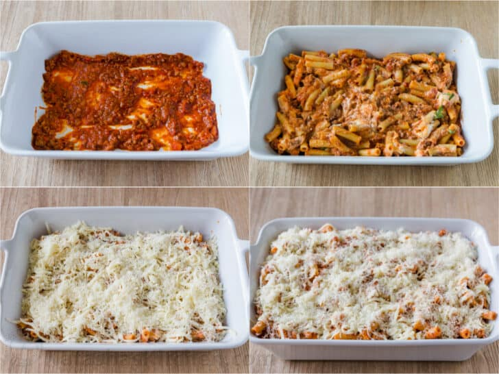 step by step how to make and assemble baked ziti casserole