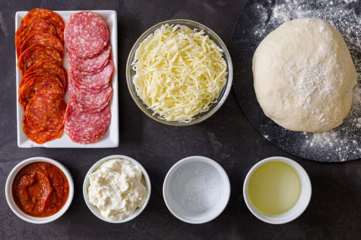 Ingredients for the calzone