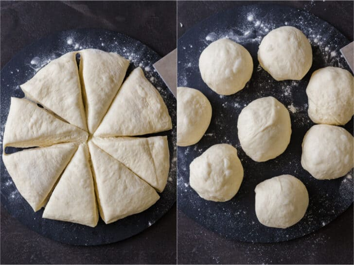 Pizza dough cut into 8 pieces and rolled up into a ball