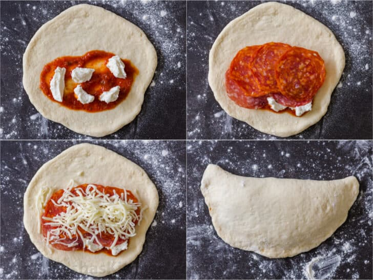 Step by step of making Calzone