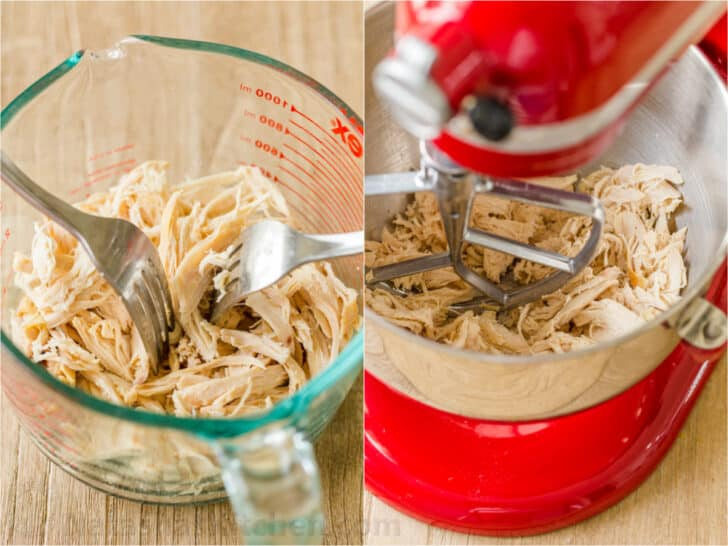 How to shred chicken with forks or in stand mixer