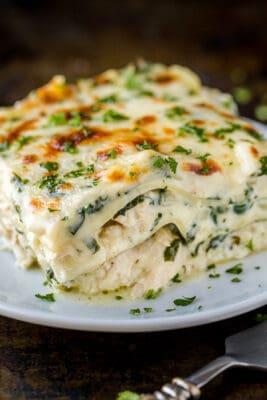 Chicken lasagna slice on a plate