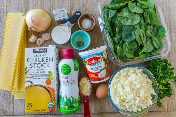 Ingredients for white sauce chicken lasagna