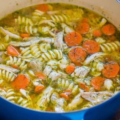 Chicken Noodle Soup in a blue pot