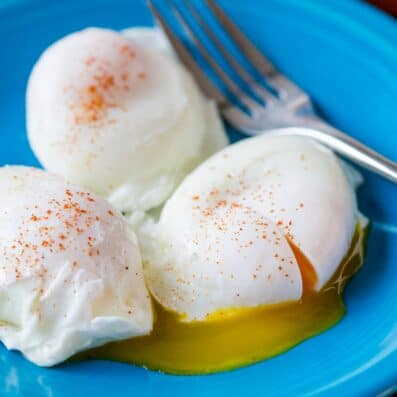 Poached Eggs on a plate seasoned
