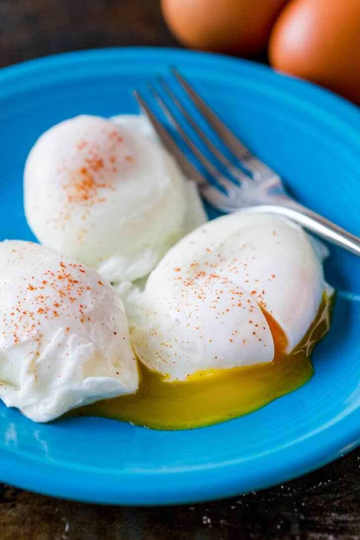 Poached Eggs on a plate seasoned