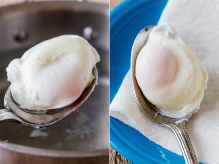 Removing egg with slotted spoon to test for doneness