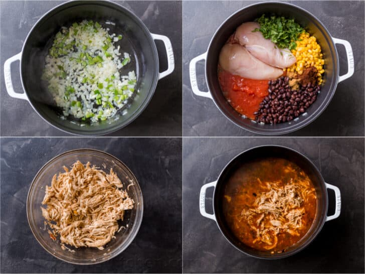 Step by step of making chicken tortilla soup
