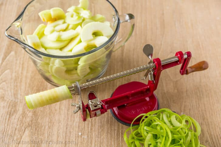 Sliced apples with apple slicer