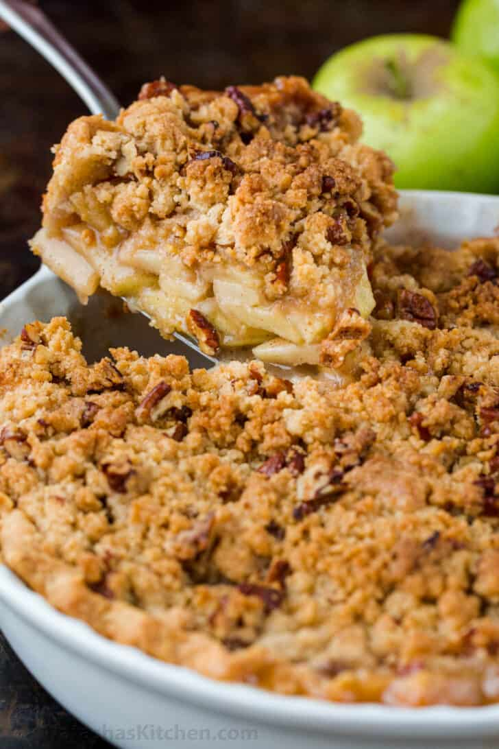 Dutch apple pie recipe with apple crumb topping served in pie pan