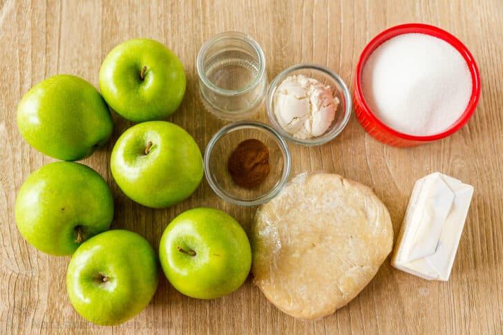 Ingredients for apple crumb pie