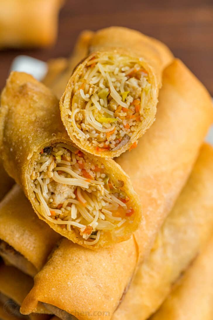 Egg rolls sliced to show egg roll filling inside