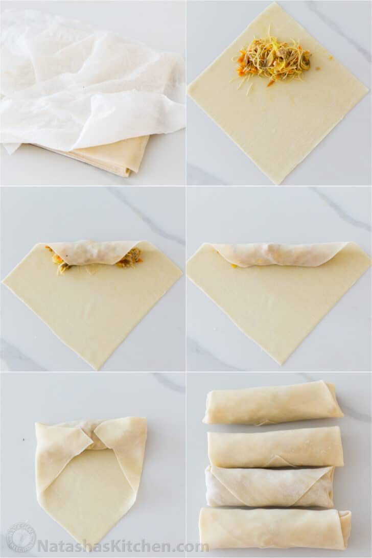 step by step how to wrap and form egg rolls