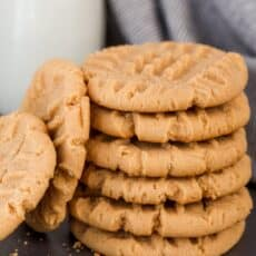 Soft peanut butter cookies stacked