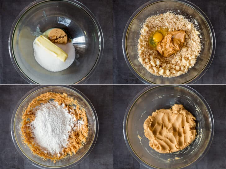 Step by step collage how to make homeamde peanute butter cookies.