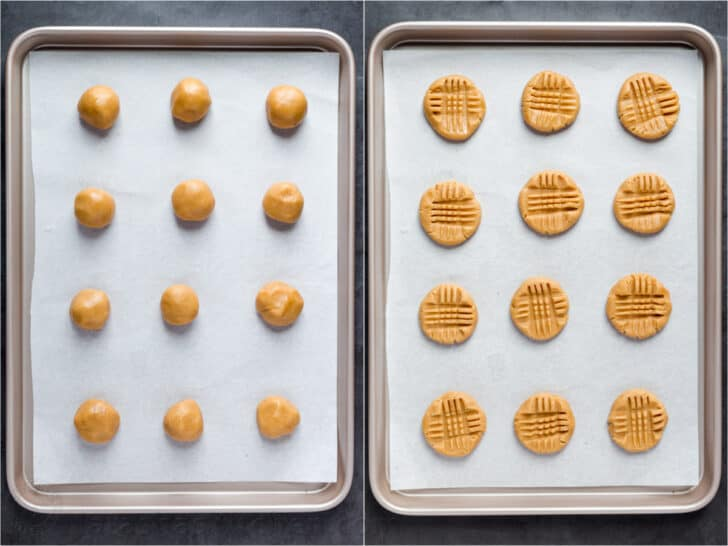 Step by step collage how to make and shape peanut butter cookies.