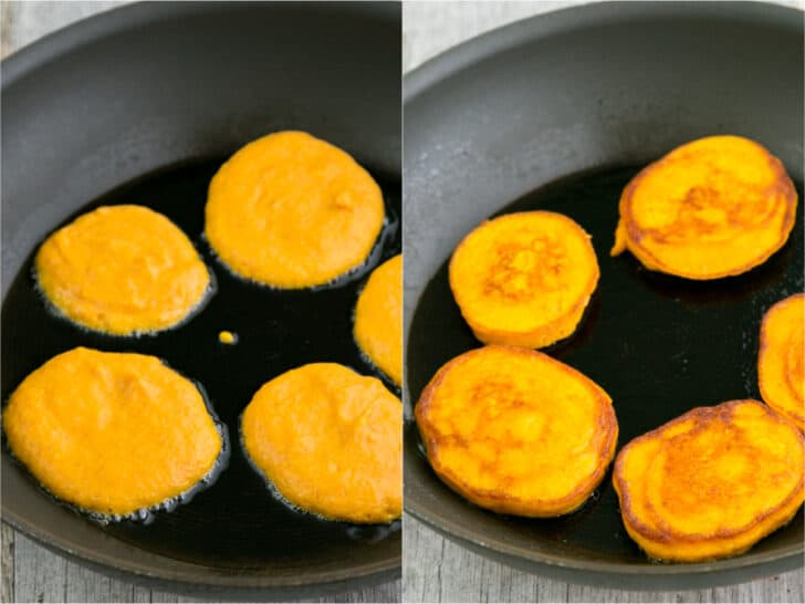Pumpkin pancakes ready to flip in skillet