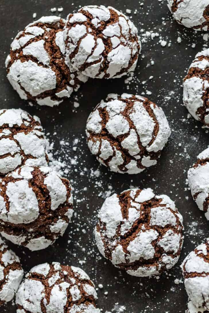 Several Chocolate Crinkle Cookies on a tray