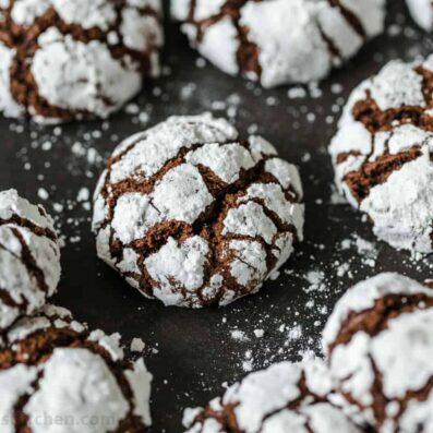Chocolate Crinkle Cookies served on platter