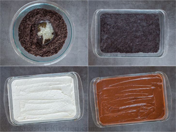 Step-by-step collage on how to make homemade chocolate lasagna.