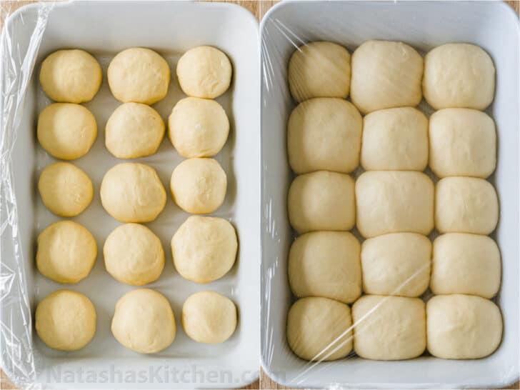 Dar forma a los panecillos y subirlos sobre una bandeja para hornear.