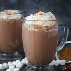 homemade hot chocolate in mugs with whipped cream