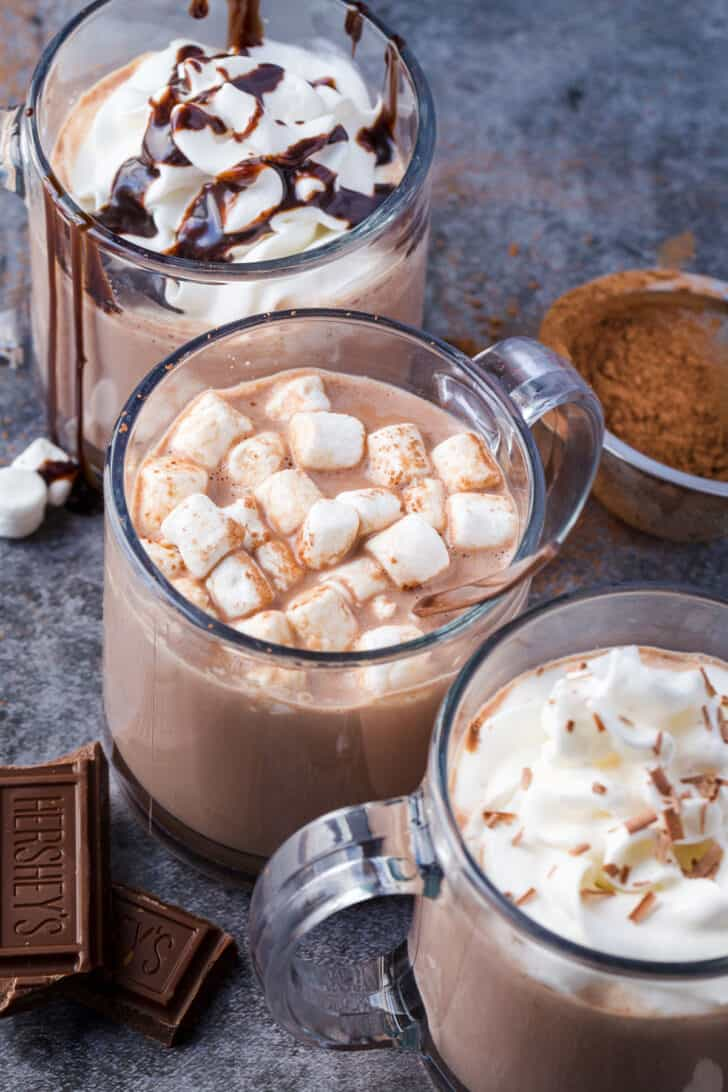 hot chocolate topped with variety of toppings