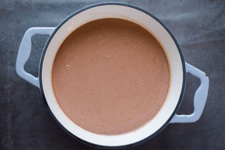 Hot cocoa in a medium saucepan.