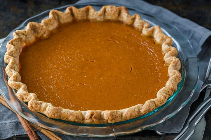 homebaked pumpkin pie without cracks on the surface