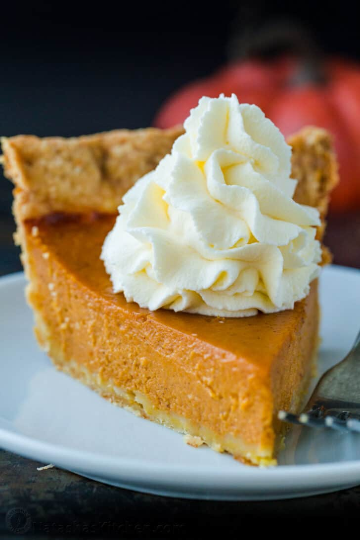 Easy pumpkin pie slice on a plate