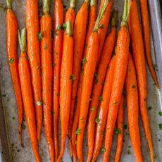 Roasted Carrots recipe on baking sheet