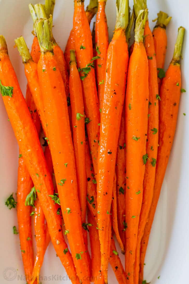 Roasted carrots served on a platter