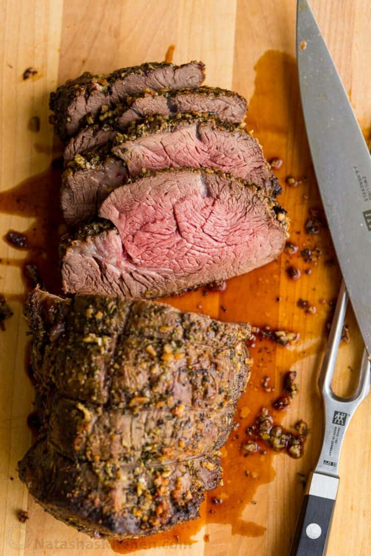 Sliced perfectly cooked beef tenderloin