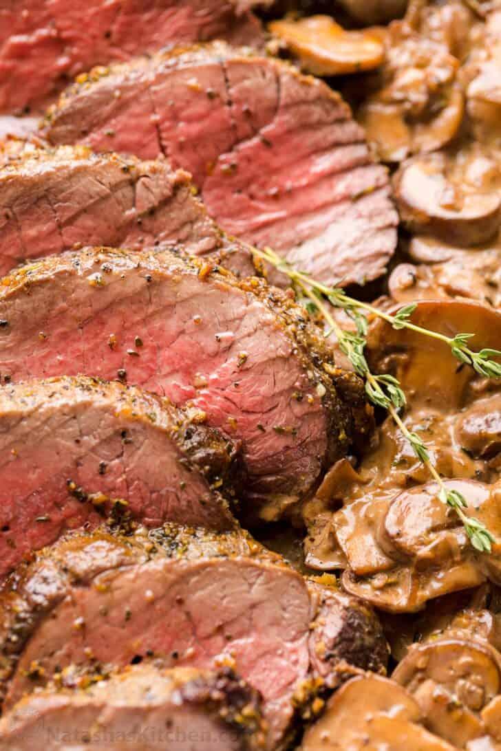 Beef tenderloin cooked to medium doneness temperature