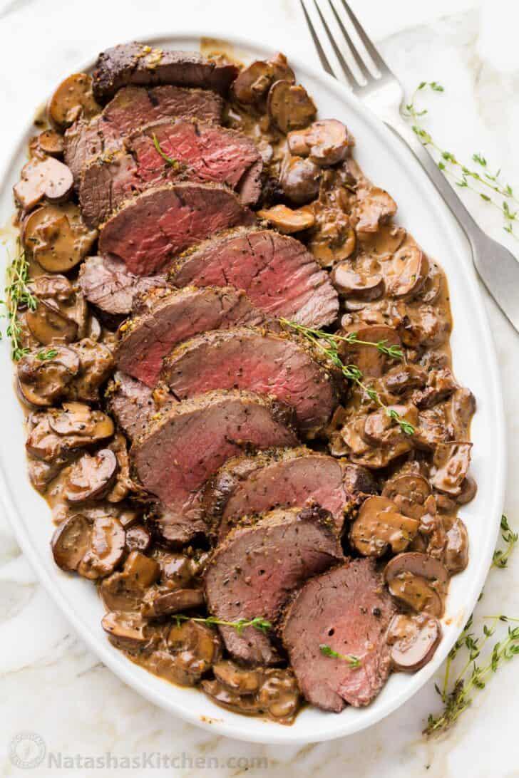Platter of filet of beef with mushroom sauce
